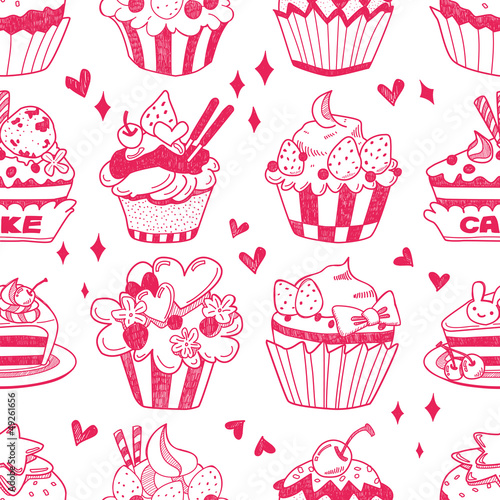 Fridge magnet seamless doodle cake pattern