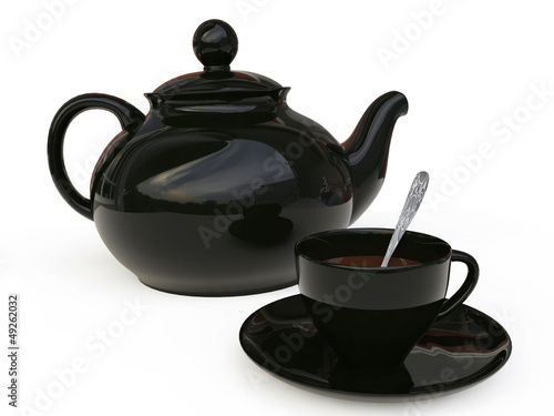 Teapot with Cap of Tea in 3D