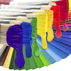pinceaux, peinture, nuancier