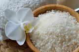 Fototapety Close up of spa set with salt bath.