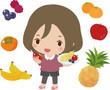 たくさんの果物と若い女性