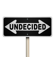 Undecided Word Two-Way Road Sign - Isolated