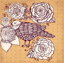 Vector hand drawn illustration with bird and flowers