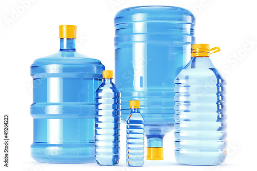 Clean drinking water in blue plastic bottles