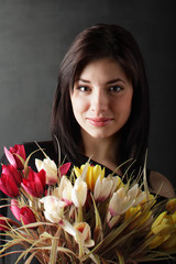 beauty girl with flowes