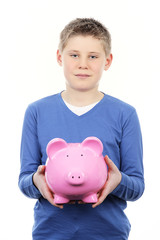 boy with pink piggy bank