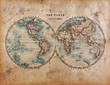 Leinwanddruck Bild - Old World Map in Hemispheres