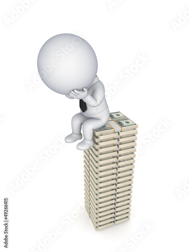 Sad 3d small person sitting on a stack of dollars.
