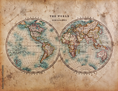 Fototapety, obrazy : Old World Map in Hemispheres