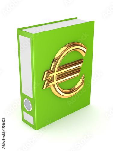 Green folder with golden symbol of euro.