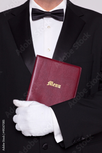 Waiter holding a Menu