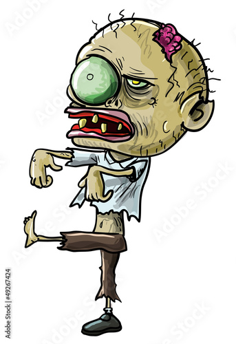 Cartoon zombie with a grotesque eye