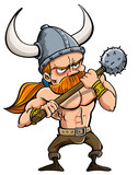 Cartoon illustration of a fierce redhead viking