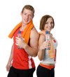 handsome man and girl holding a bottle with water
