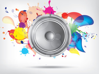 Music background with subwoofer