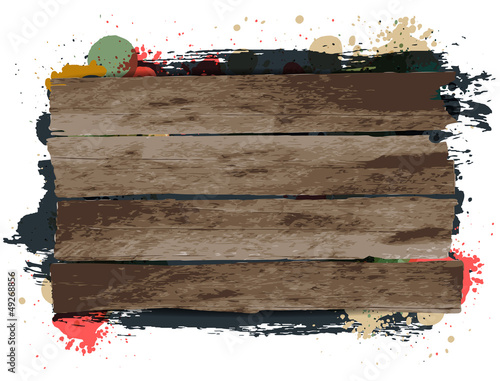 Vector Wooden signs background with grungy paint