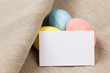 easter eggs with card