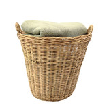 Wooden basket with stack apparels isolated on white poster