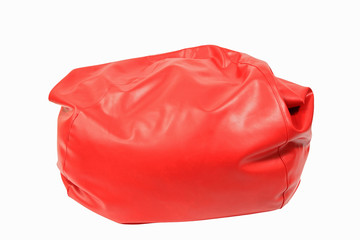 Red beanbag isolated on white