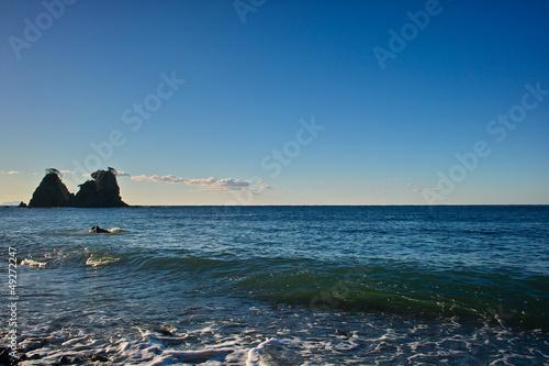 伊豆 逢ヶ浜の雀岩と波
