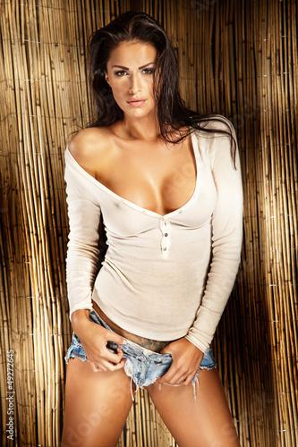 Sexy brunette lady in white shirt posing © pawelsierakowski