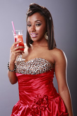 Red hot girl and cold red drink