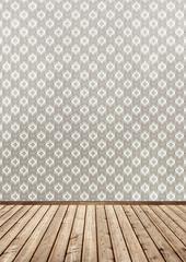 wallpaper and wood floor