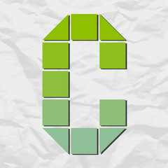 Letter C from squares and triangles on a paper-background. Vecto