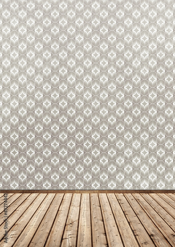 wallpaper and wood floor