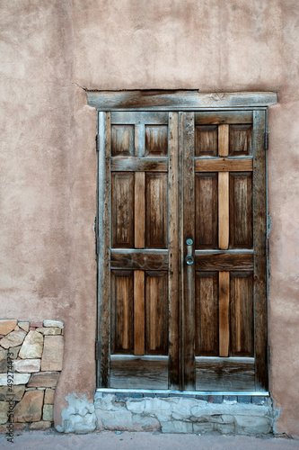 Beautiful wooden door in Santa Fe historic center, New Mexico