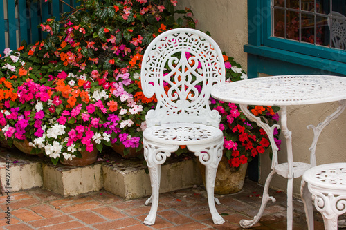 Garden furniture outside cafe in popular Cannnon Beach, Oregon