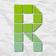 Letter R from squares and triangles on a paper-background. Vecto