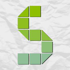 Letter S from squares and triangles on a paper-background. Vecto