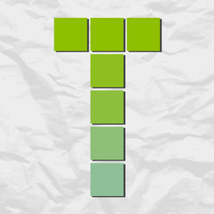 Letter T from squares and triangles on a paper-background. Vecto