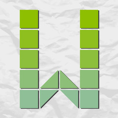 Letter W from squares and triangles on a paper-background. Vecto