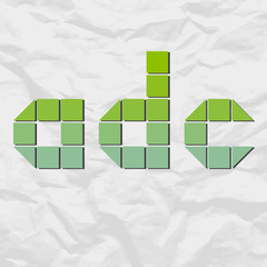 Letter adc from squares and triangles on a paper-background. Vec