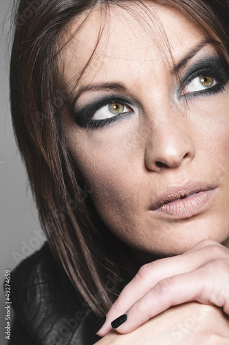 Pensive beautiful woman
