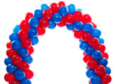 Arch of red and blue balloons