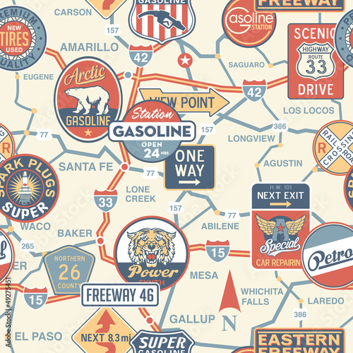 Vintage vector road map with signboards - seamless pattern