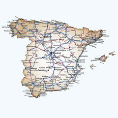 Road map of Spain
