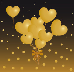 Bouquet Ballons Coeurs Or