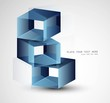3d abstract blue colorful boxes Vector