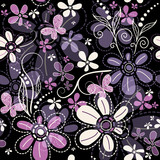 Fototapety Repeating dark floral pattern