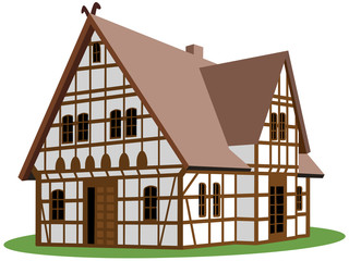 Weißes Fachwerkhaus auf Rasenstück – Vektor und freigestellt