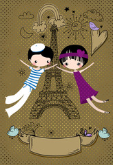 Love in Paris - Cute little couple