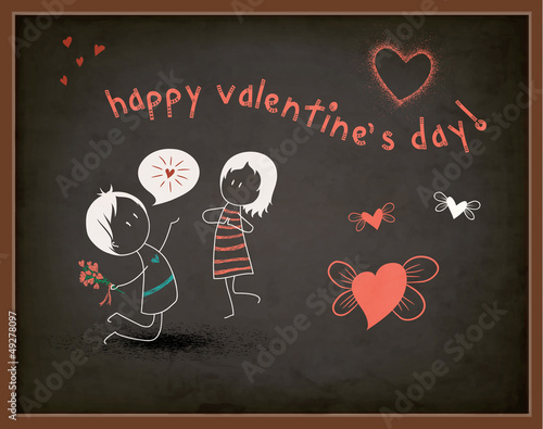 Valentine's Day Greeting on a Chalkboard - Cartoon