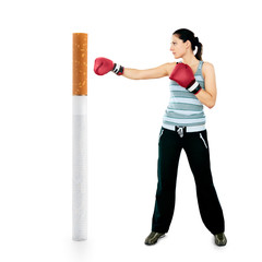 No smoking. Young girl boxing cigarette