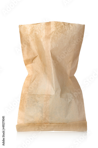 Empty paper bag isolated