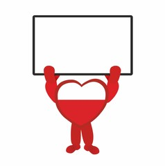 blood donor - red heart holding empty sign