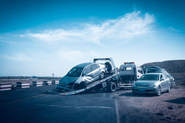 accident car on the tow truck